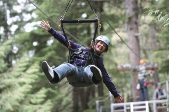 Ziplining through the forests in Whistler