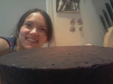 Putting things into slightly frazzled perspective. This cake was bigger than my head.