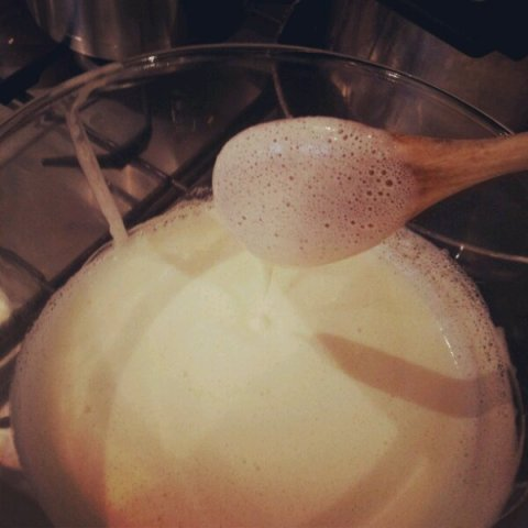 Coconut Custard coating the back of a spoon - thick enough to cool!