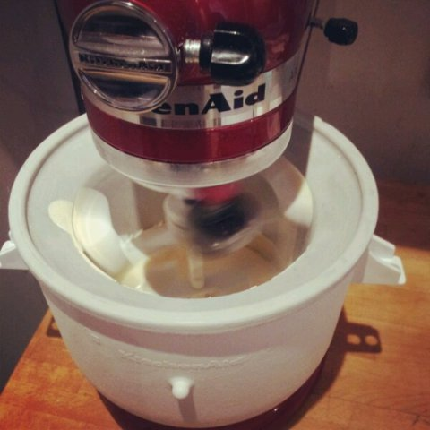 Freeze me up - KitchenAid Ice Cream attachment in action - coconut gelato
