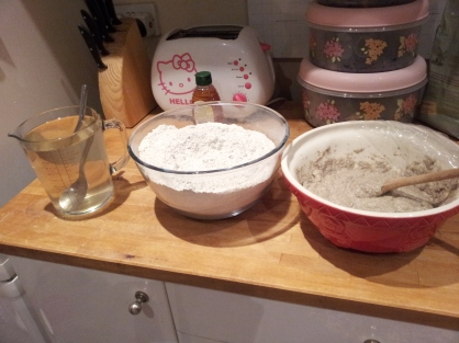 How to fit all of this in one bowl... water, flour, seeds and sourdough starter