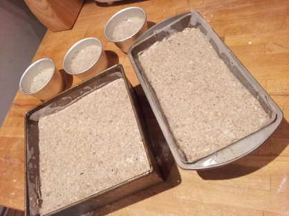 Pour your rye bread dough into all of your loaf tins (and every other container you can find...)