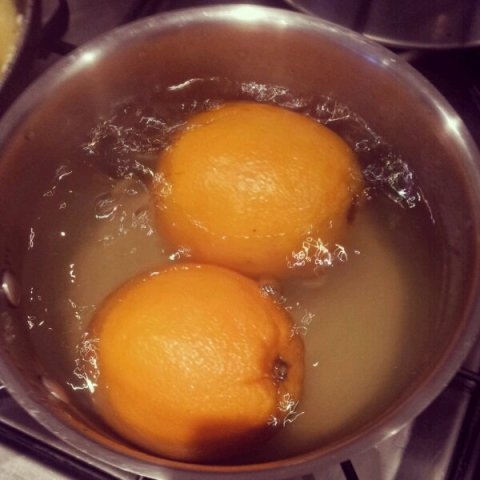 Boil 2 whole oranges for 2 hours. Simple