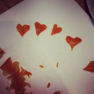 Practice makes perfect - slicing candied peel into hearts