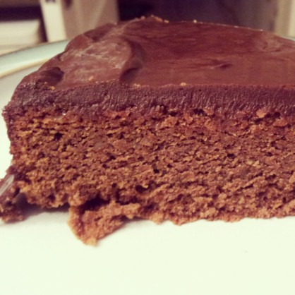 Here's a slice of my second attempt at Sachertorte (Just the one layer) but beautifully rich and moist!