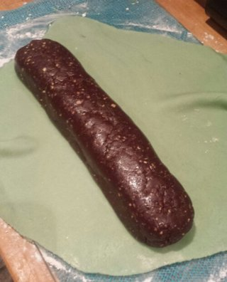 Chocolate Sausage ready to be wrapped in marzipan