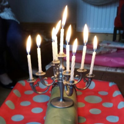 What giant prunschelle cake would be complete without a birthday candleabra?