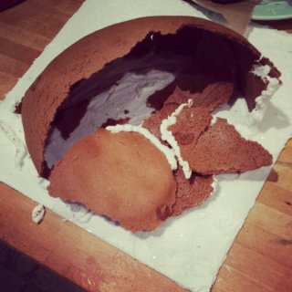 Collapsed gingerbread cave - yet another gingerbread mess