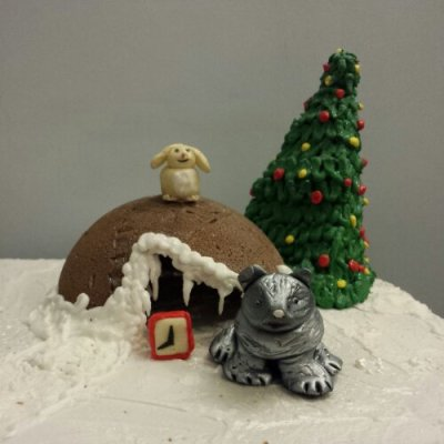 The gingerbread Christmas Tree and Cave with the Bear and the Hare