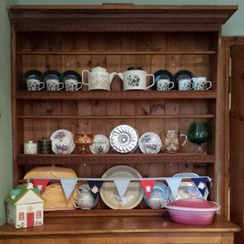 One of my new kitchen dressers already bursting to the seams with kitchen stuff!