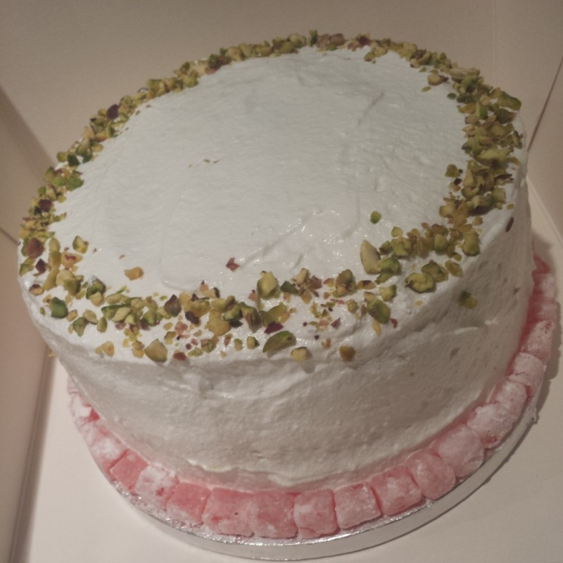 Cramming many international elements into one cake: A 4 layer Iranian Pistachio Cake, with homemade lemon curd, Turkish Delight and Rose Italian Meringue