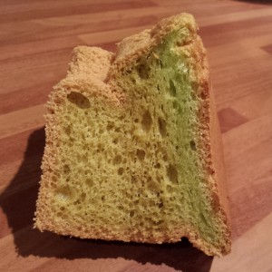 A slightly squashed slice of Pandan Chiffon Cake