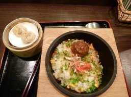 Delicious fried rice and dumplings