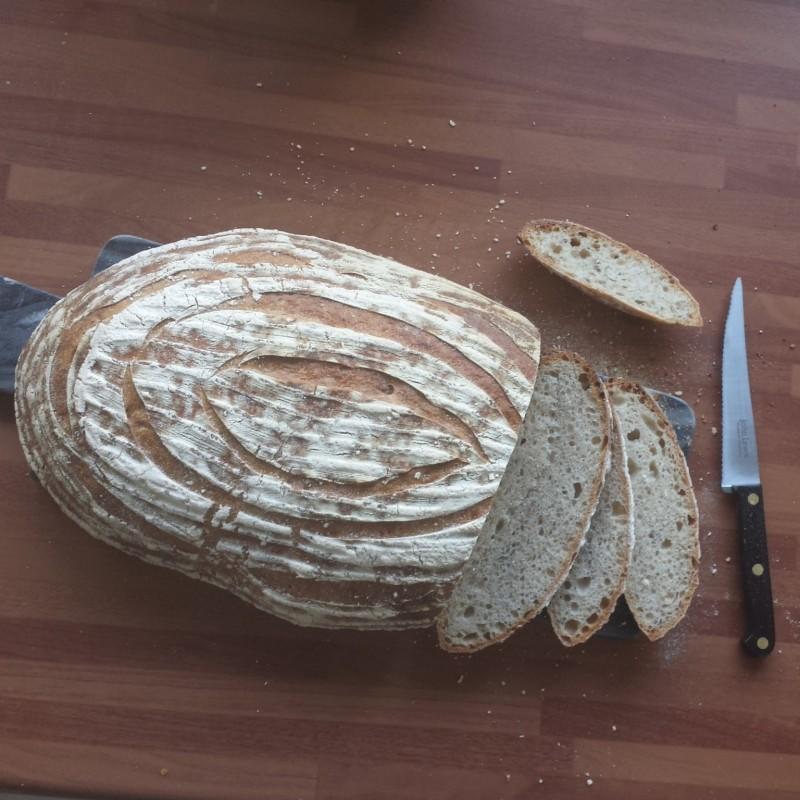 Thin slices of white sourdough