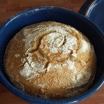 After! Look at that oven spring! This loaf expanded so much it was touching the top of the pot!