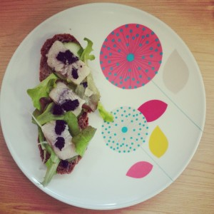 Pickled herring and seaweed caviar on Russian Black Bread
