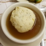 Matzoh ball soup at Katz Deli