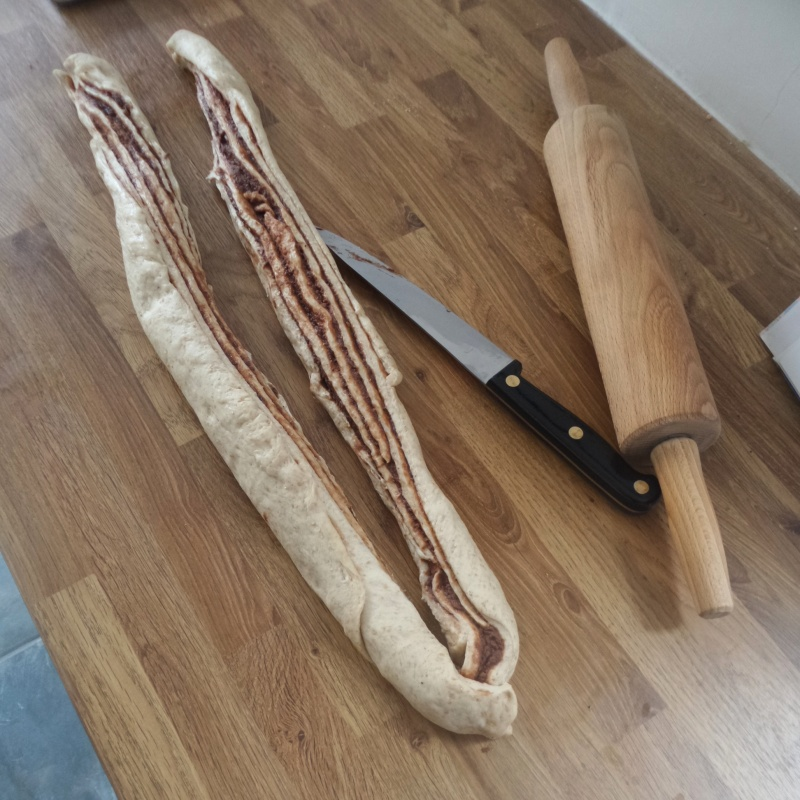 3. Split the dough down the middle with a sharp knife